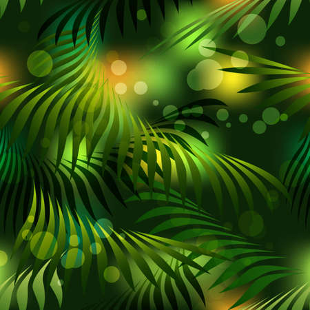 Seamless pattern with tropical palm leaves in dark. Vector illustration.