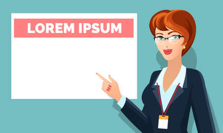 Illustration of Business woman in glasses pointing on message board. Illustration