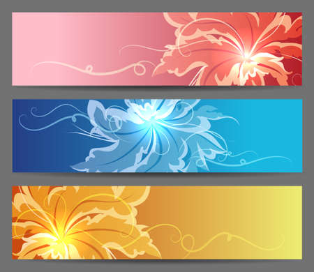 Set of Abstract Flower Vector Background. Brochure web or card design elements. Vector illustration.