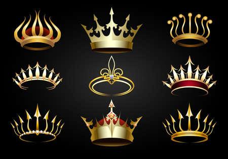 Set of various golden crowns on black background. Vector illustration.