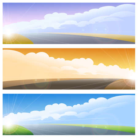 Set of three landscapes with sky and road. Vector Illustration. Illustration