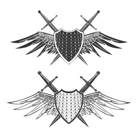 Two shields with swords and wings. Knight or heraldic design elements. Vector illustration isolated on white.