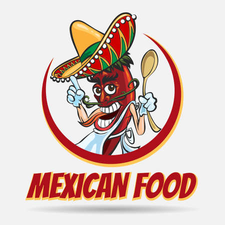 Cartoon mexican red chili pepper with green mustache in sombrero hat. Mexican food logo, labels, emblems and badges. Vector illustration.