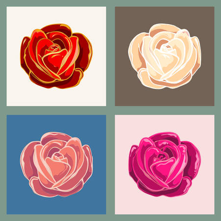 Set of rose flowers in various colors. Vector illustration.