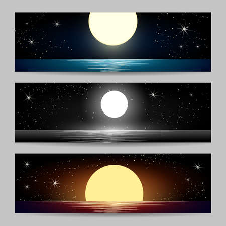 Set of seascapes with full moon at the night sea. Vector illustration Illustration
