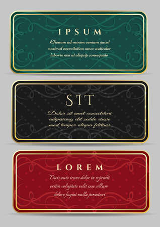 Set of vintage luxury horizontal cards with a beautiful baroque pattern and border. Vector illustration Illustration
