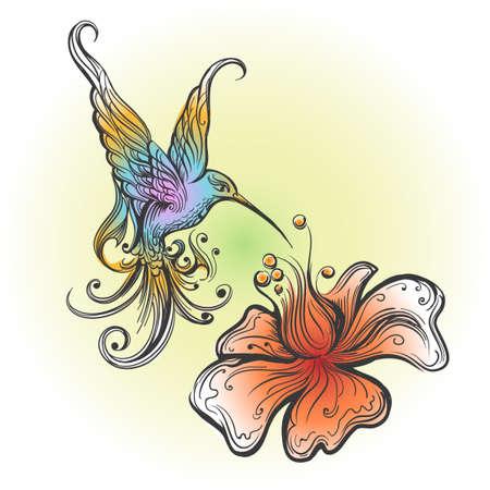 Vliegende Kolibrie nippende nectar van bloem die in tatoegeringsstijl wordt getrokken. Vector illustratie