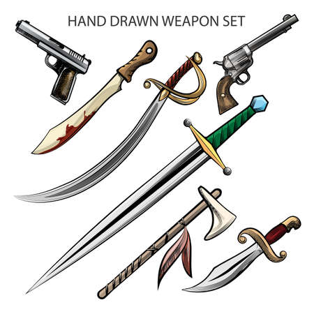 Set of hand drawn various weapon. Vector illustration.