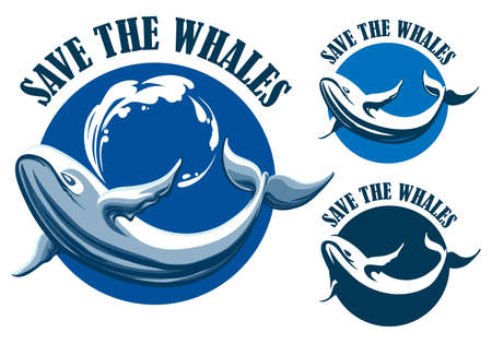 Hand getrokken blauwe vinvis en formulering Save the Whales embleem of label set. Vector illustratie