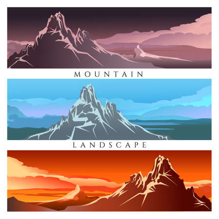 Set berglandschappen. Vector illustratie Stock Illustratie