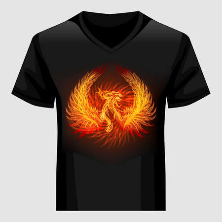 Mannen shirt sjabloon met Phoenix in vlam. Vector illustratie