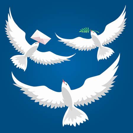 Vliegende duif set. Vredesduif die met olijftak vliegt en duif met bericht in een envelop. Witte duivencollectie. Vector illustratie