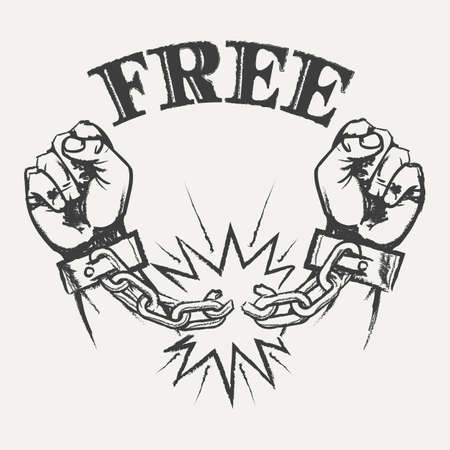 Hand Drawn Raised Hands With Broken Chains And Word Free In Pencil Sketch Style Illustration