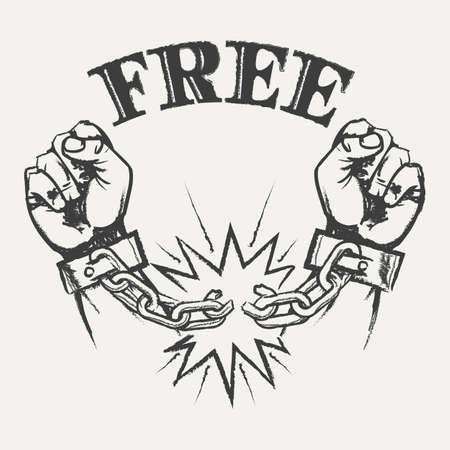 Hand getrokken opgeheven handen met gebroken kettingen en woord gratis in potloodschets stijl illustratie.