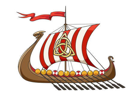 Drakkar middeleeuws Viking Battle Ship in cartoon-stijl. Vector illustratie