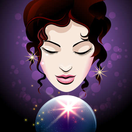 Pretty Girl looks into a crystal ball. Magic of Fortune telling concept. Vector illustration.