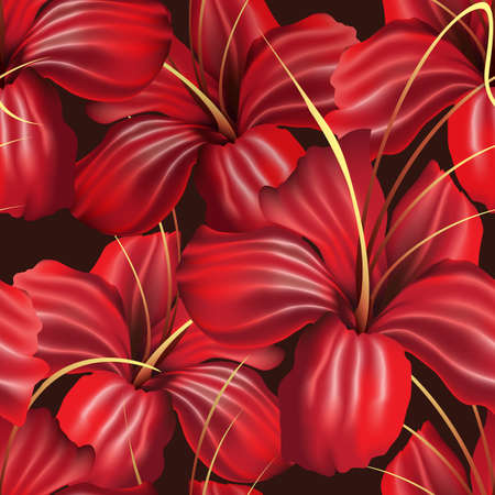 Red Orchid Flowers Seamless Pattern on Black. Vector illustration. Stock Illustratie