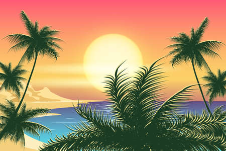 Tropical seascape with palm trees on island coastline at sunset. Vector illustration.