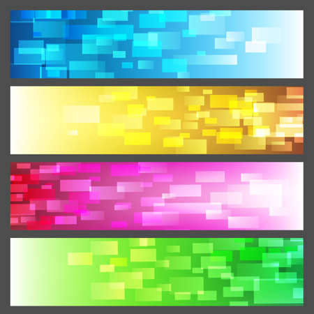 Colorful horizontal banners with rectangles pattern. vector illustration. Stock Illustratie
