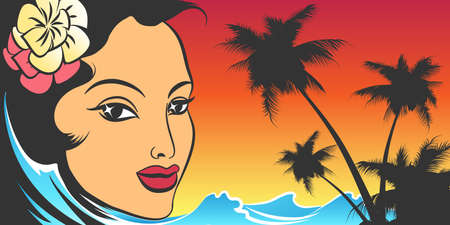 Summer Vacation Retro Poster with Woman face and tropic seacoast. Vector illustration.