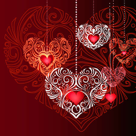 Ornate Jewelry Hearts on red background. Vector Illustration. Stock Illustratie