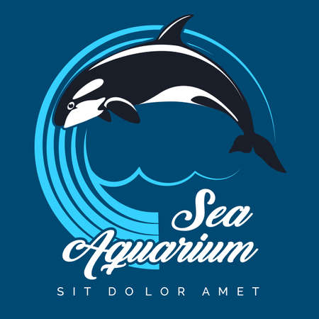 Sea Aquarium Emblem. Jumping Orca against circle of waves. Vector illustration.