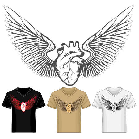 Heart with Wings shirt print template in various color variations. Vector Illustration.