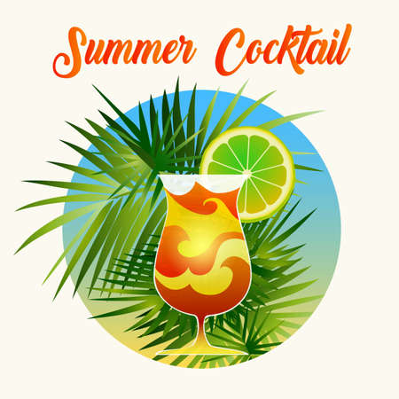 Poster drawn in retro style with exotic summer cocktail and palm tree leaves. Vector illustration. Stock Illustratie