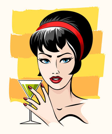 Beautiful girl and with cocktail glass drawn in retro poster style. Vector illustration.