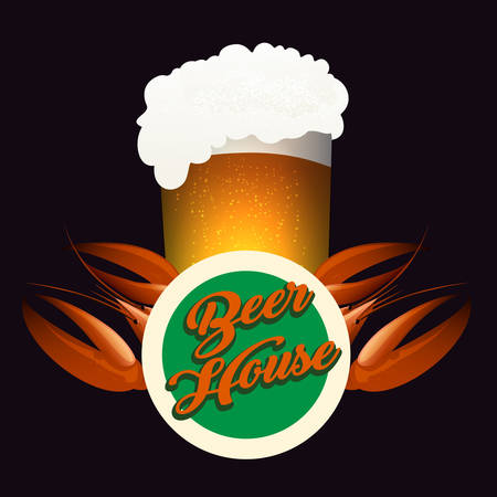 Pub or Beer House Emblem. Glass full of beer and boiled crawfish. Vector illustration. Ilustração
