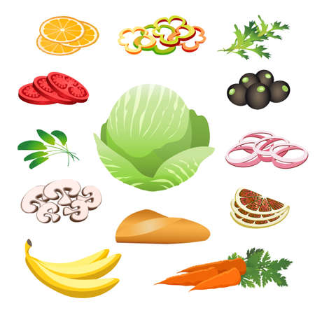 Healthy Food set. Banana, tomato, onion, orange, olives, carrot, cabbage. Vector illustration.
