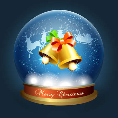 Snow Globe with Jingle Bells and santa sleigh. Vector illustration.