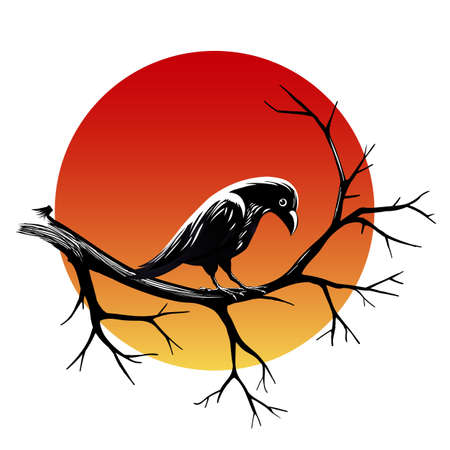 Black raven sitting on a branch of leafless tree against sun isolated on black. Vector illustration