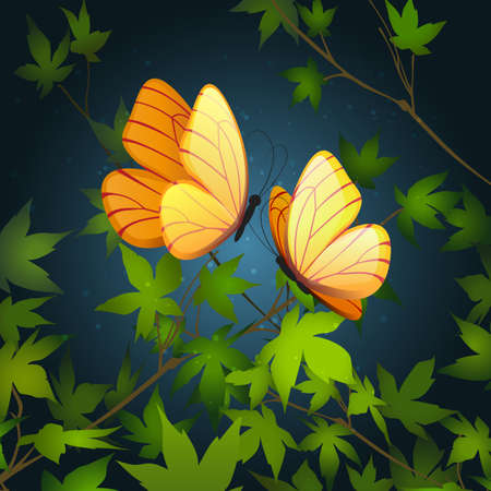 Two butterflies flying in summer night forest. Vector illustration.