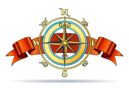Wind Rose Golden Nautical Compass with Red Ribbon. Vector Illustration.