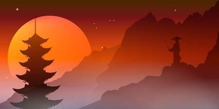 Japanese pagoda at sunset landscape and pilgrimage monk on a mountain peak. Vector Illustration. Stock Illustratie