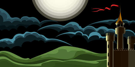 Midnight Landscape With Medieval Castle drawn in Cartoon Style. Vector Illustration.