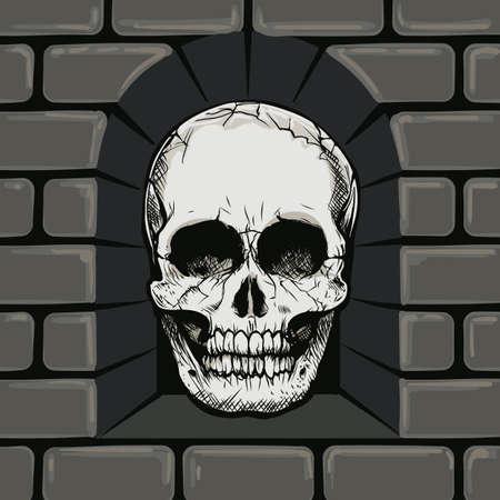 Hand Drawn Skull in The Stone Wall Niche. Vector illustration. Stock Illustratie