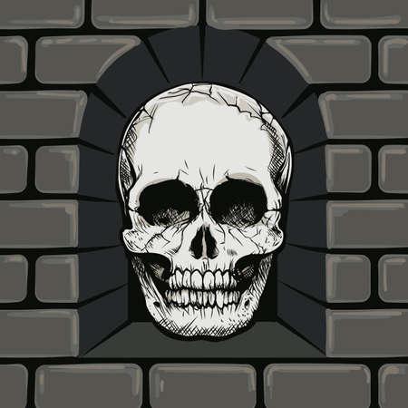 Hand Drawn Skull in The Stone Wall Niche. Vector illustration. Ilustração