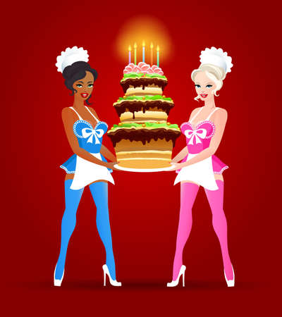 Beautiful girls in confectioner suits holds Birthday cake. Vector illustration.