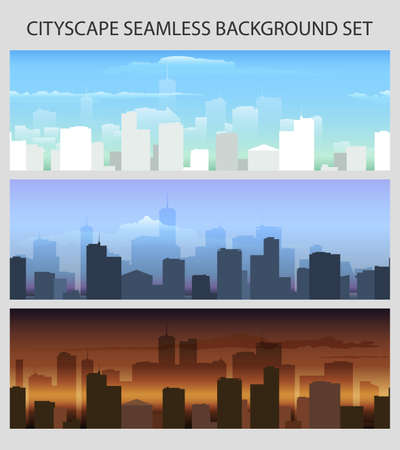 Sunrise, dawn and day cityscape seamless horizontal backround set. Vector illustration