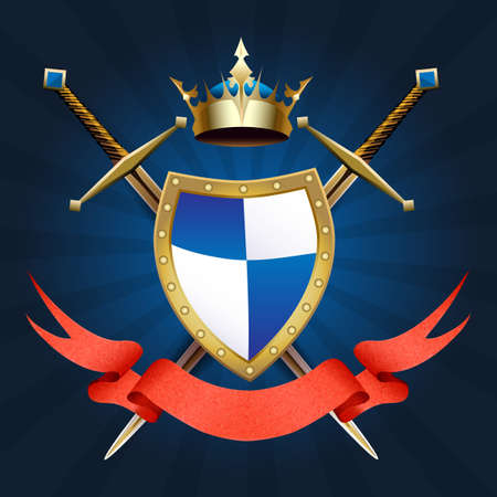 Heraldic Knight coat of arms with crown. swords and ribbon. Vector illustration.