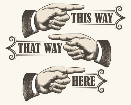Retro pointing fingers. Navigation signs in vintage style. Vector illustration