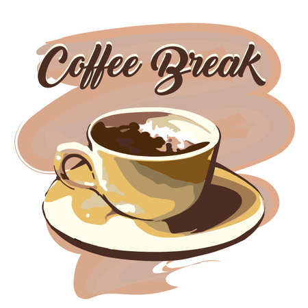 Hand drawn coffee break graphic design. Vector illustration.