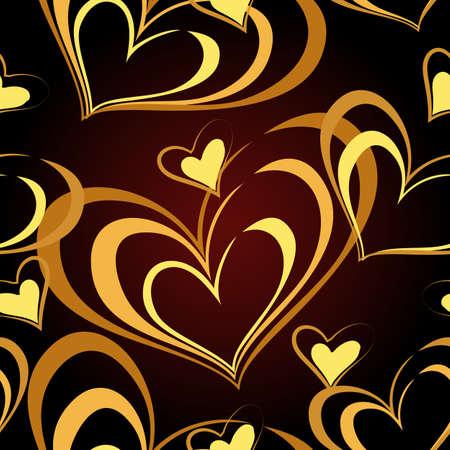 Seamless Pattern with golden heart on black background. Vector illustration. Ilustração