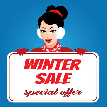 Beautiful Woman in winter clothes with Winter Sale Sign Board. Vector illustration.