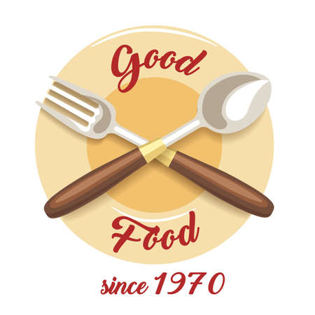 Restaurant or cafe emblem with wording Good Food. Vector illustration. Stock Illustratie
