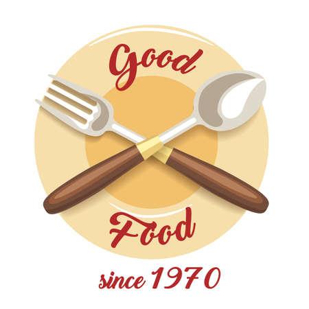 Restaurant or cafe emblem with wording Good Food. Vector illustration. Ilustração