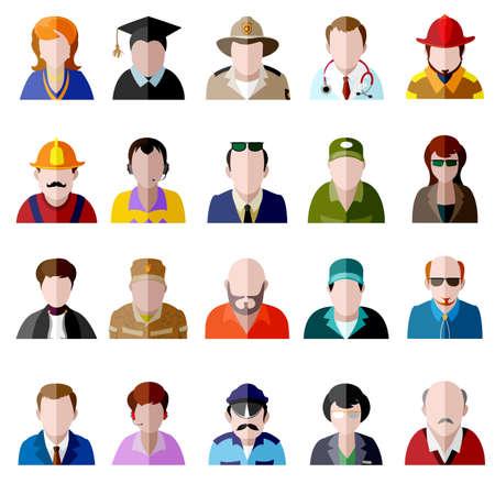 Color vector flat icon set. Different people character: female, male, prisoner, police officer, girl, grandmother, grandfather, student, businessman, housewife, military, judge, sherff, fireworker etc Ilustração