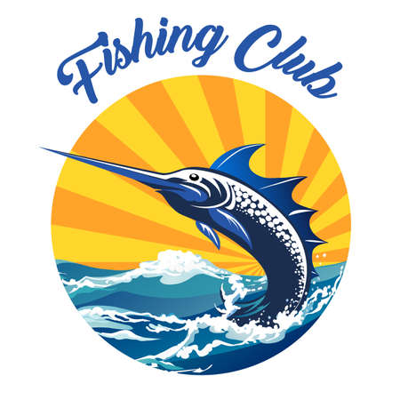 Fishing Club Emblem. Sword fish jumping out of water. Vector illustration.  イラスト・ベクター素材